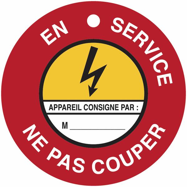 Disques de condamnation magnétiques Danger électricité - En service Ne pas couper