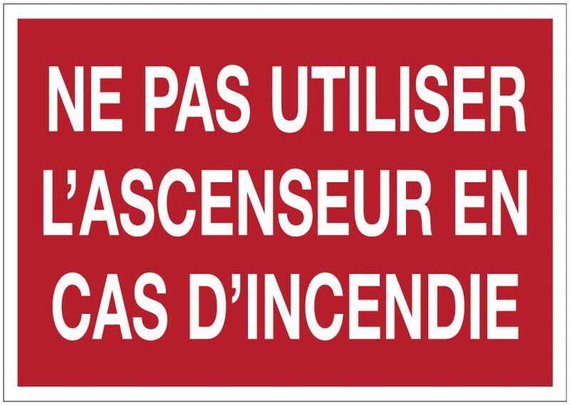 Autocollant de sécurité incendie - Ne pas utiliser l'ascenseur en cas d'incendie