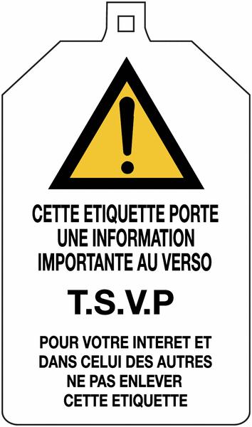 Plaquette de sécurité Danger général - Défense de fermer la vanne à compléter - Seton