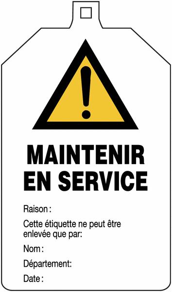 Plaquette de sécurité Danger général - Maintenir en service à compléter