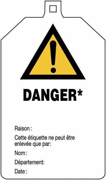 Plaquette de sécurité Danger général - Danger* à compléter