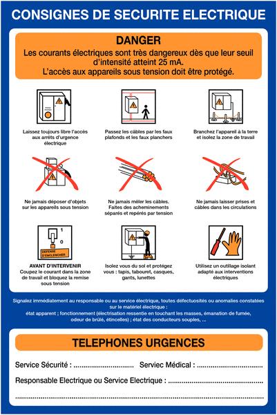 Affiche Consignes de sécurité électrique