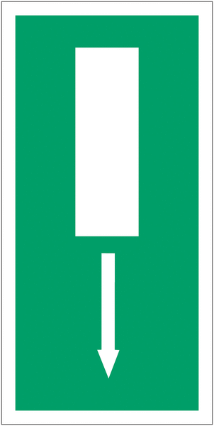 Panneau d'évacuation en drapeau Issue de secours, flèche directionnelle en bas ou en haut
