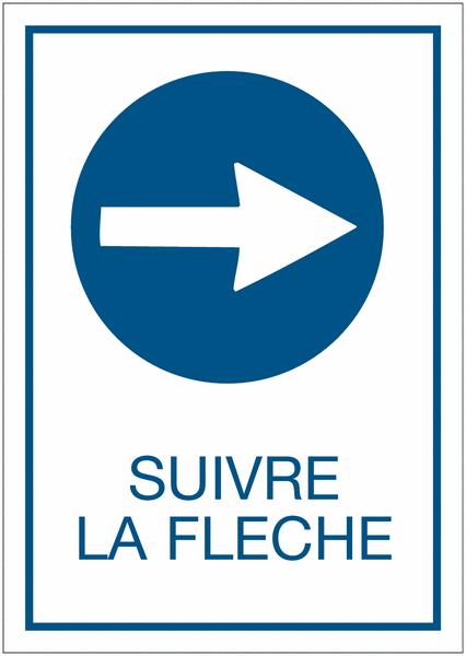 Panneau d'obligation A4 Obligation de tourner à droite avant le panneau - Suivre la flèche