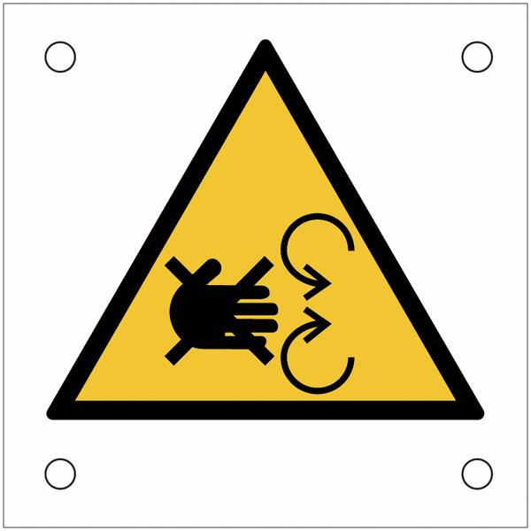 Plaques de signalisation pour machines Risque d'écrasement de la main par le mécanisme en mouvement