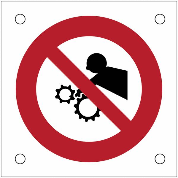 Plaques de signalisation pour machines Interdiction d'approcher vos bras, risque d'entraînement dans l'engrenage