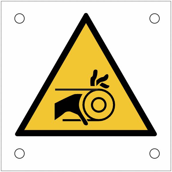 Plaques de signalisation pour machines Risque d'entraînement de la main par la courroie