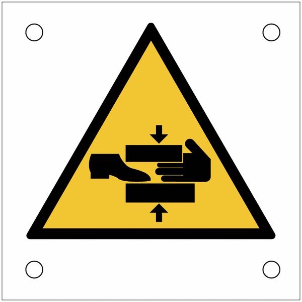 Plaques de signalisation pour machines Danger, risque d'écrasement du pied et de la main