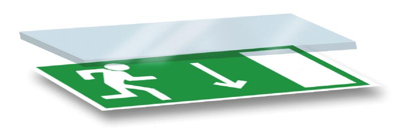 Panneau en polycarbonate Homme qui court, flèche en bas - Panneaux et pictogrammes Sortie et Issue de secours