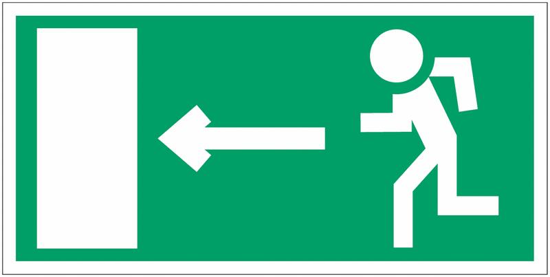 Panneau en polycarbonate Homme qui court, flèche à gauche