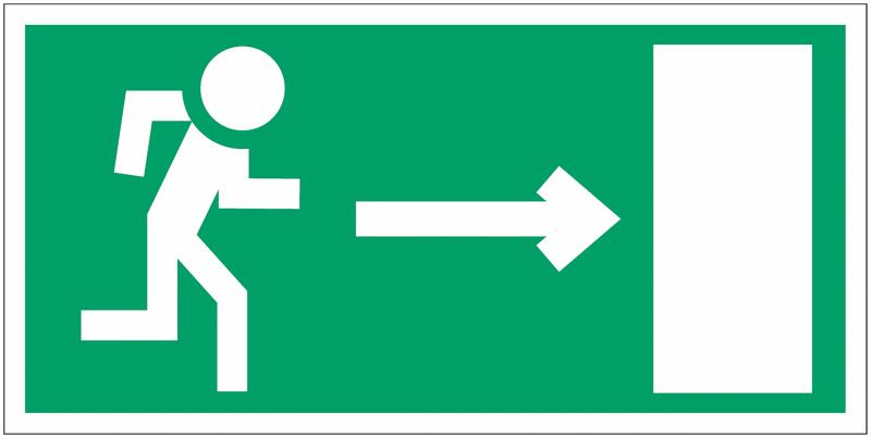 Panneau en polycarbonate Homme qui court, flèche à droite