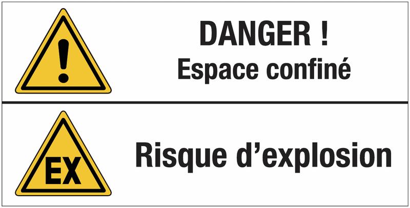 Panneau standard Danger général - Espace confiné - Atmosphère explosive