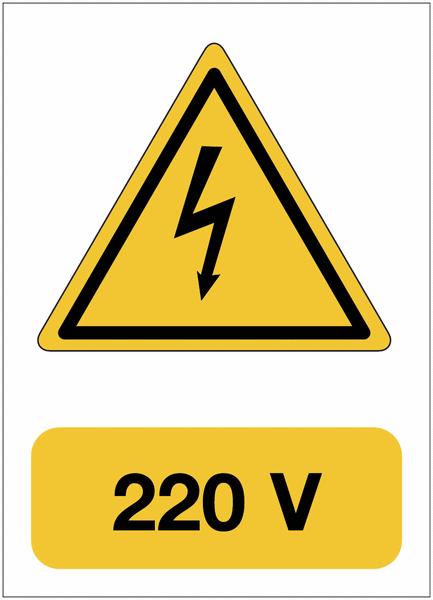Panneau adhésif de voltage A5 Danger électricité - 220 V