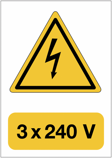 Panneau adhésif de voltage A5 Danger électricité - 3x240 V