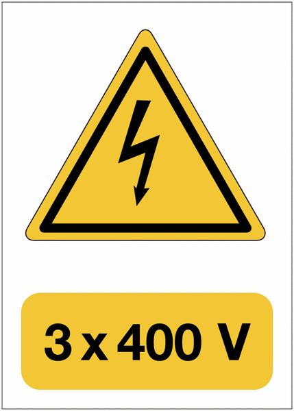 Panneau adhésif de voltage A5 Danger électricité - 3x400 V