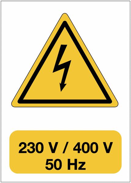 Panneau adhésif de voltage A5 Danger électricité - 230 V / 400 V / 50 Hz