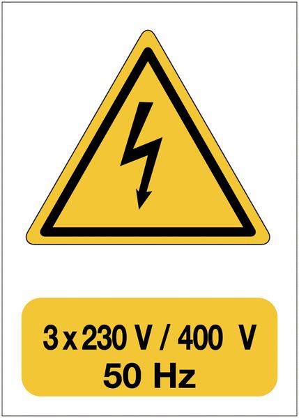 Panneau adhésif de voltage A5 Danger électricité - 3x230 V / 400 V / 50 Hz