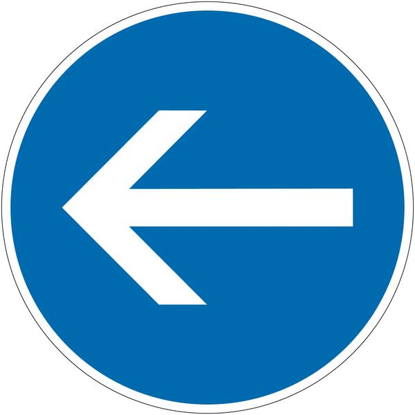 Panneau autorelevable Obligation de tourner à gauche avant le panneau