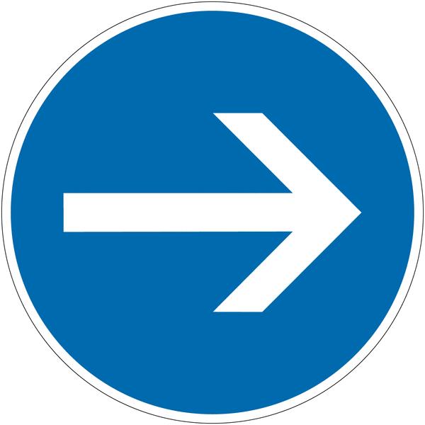 Panneau autorelevable Obligation de tourner à droite avant le panneau