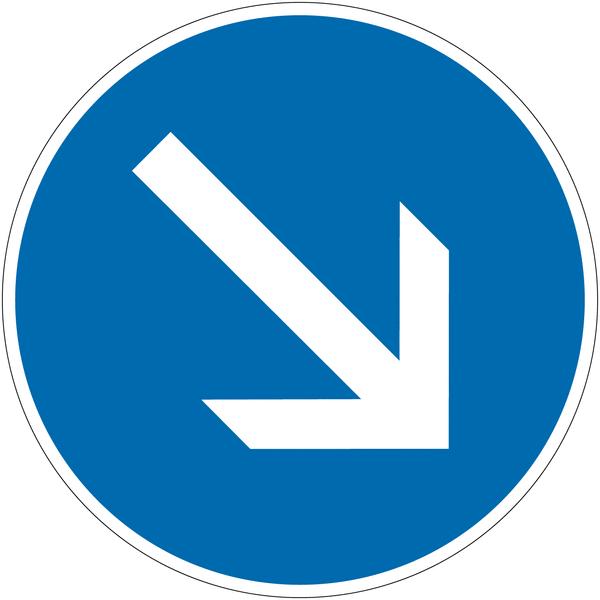 Panneau autorelevable Contournement obligatoire par la droite