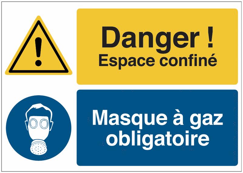 Panneau haute visibilité Danger général - Espace confiné - Protection des voies respiratoires obligatoire