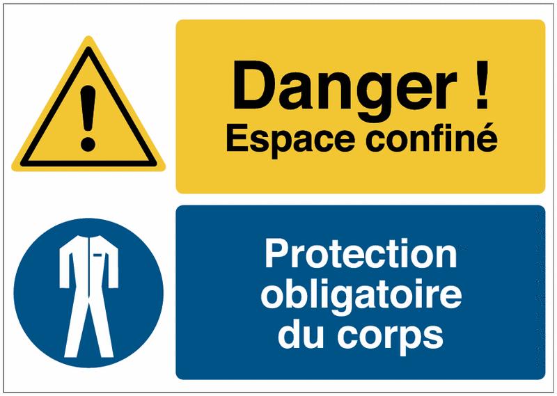 Panneau haute visibilité Danger général - Espace confiné - Vêtements de protection obligatoires