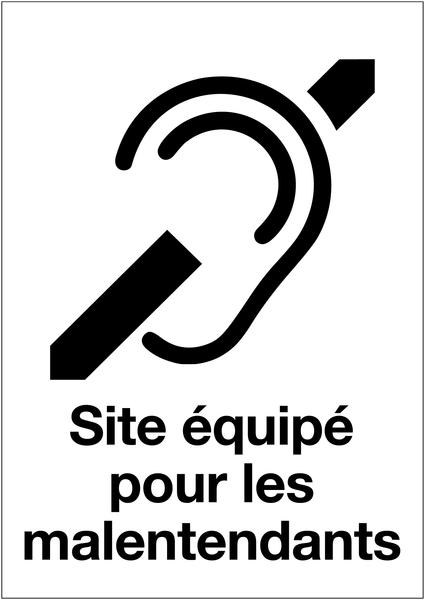 Panneau d'accueil adhésif - Site équipé pour les malentendants