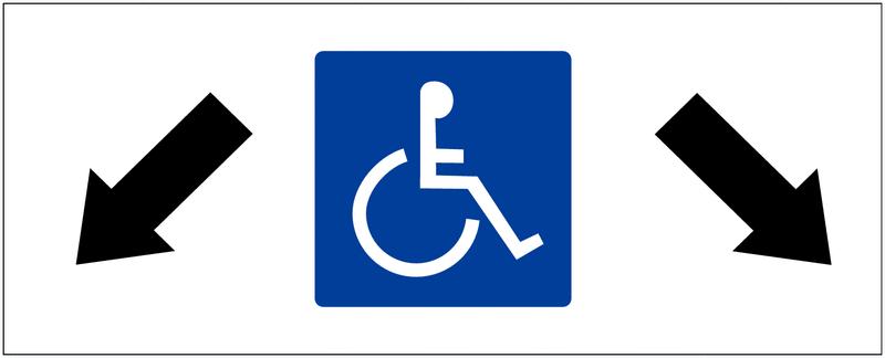 Panneau de parking Parking handicapés, flèches diagonales en bas à gauche et en bas à droite