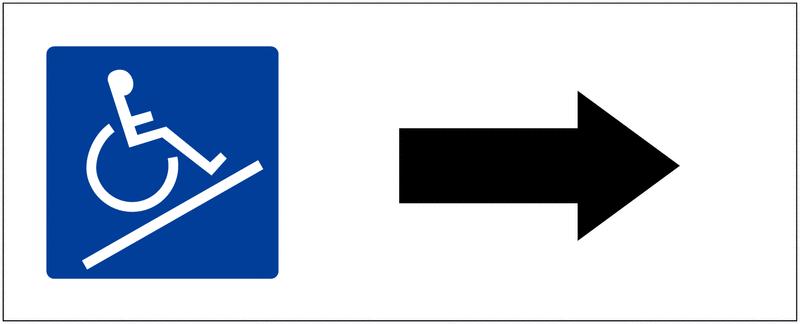 Panneau de parking Rampe d'accès, flèche à droite
