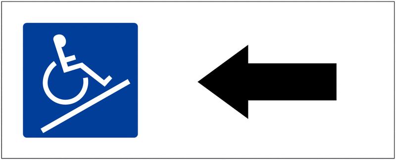 Panneau de parking Rampe d'accès, flèche à gauche