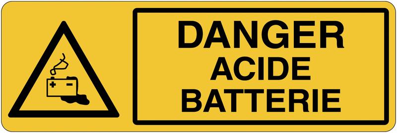 Panneau de charge de batterie - Danger acide batterie