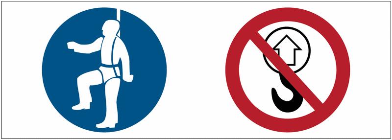 Signalétique point d'ancrage Harnais obligatoire, levage interdit