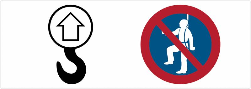 Signalétique point d'ancrage Point de levage, ancrage interdit