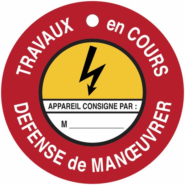 Disques de condamnation magnétiques Danger électricité - Défense de manœuvrer Travaux en cours