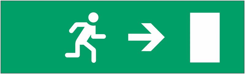 Etiquette pour bloc autonome normalisé Homme qui court, flèche à droite