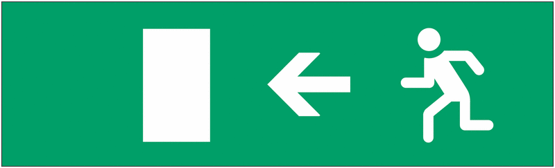 Etiquette pour bloc autonome normalisé Homme qui court, flèche à gauche