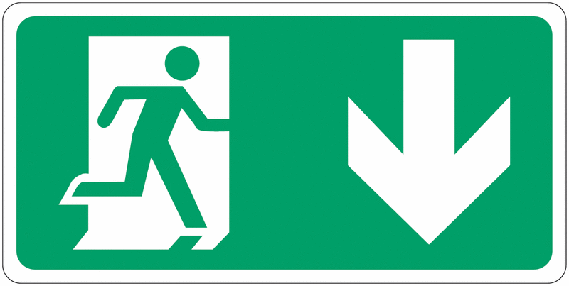 Signalisation d'évacuation prestige Homme qui court, flèche en bas