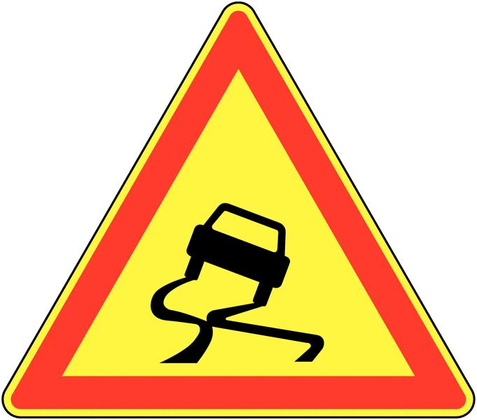 Panneau de signalisation temporaire pour cône Chaussée glissante