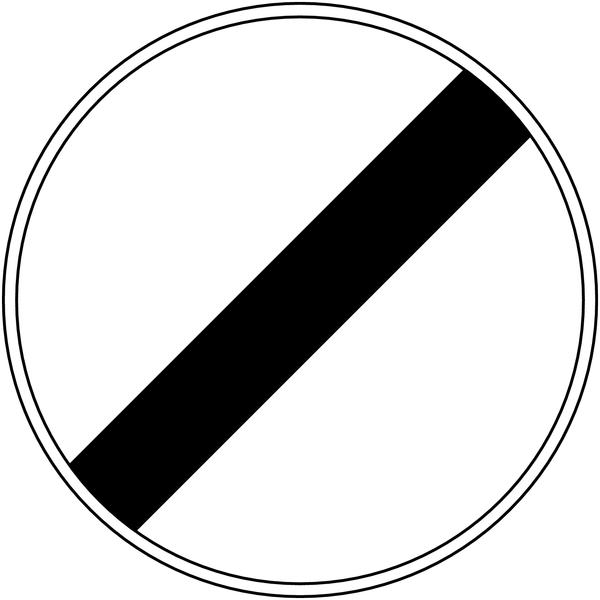 Panneau de signalisation temporaire pour cône Fin à toutes les interdictions précédemment signalées