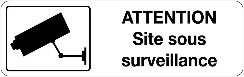 Panneau adhésif d'information de site sous vidéo surveillance