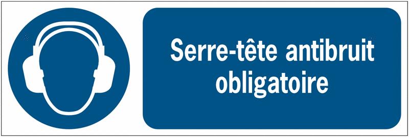 Panneaux ISO 7010 d'obligation à message horizontal Serre-tête antibruit - M003