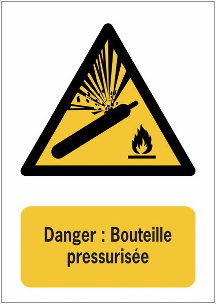 Panneaux ISO 7010 de danger à message vertical - Bouteille pressurisée - W029