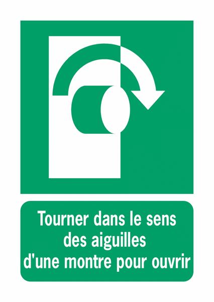 Panneaux ISO 7010 d'évacuation à message vertical - Tourner dans le sens des aiguilles d'une montre pour ouvrir - E019