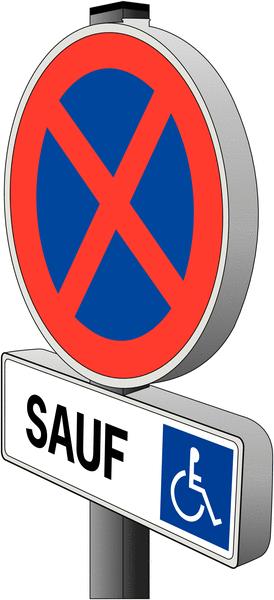 Panneau Arrêt et stationnement interdits avec panonceau pour Handicapés - Seton