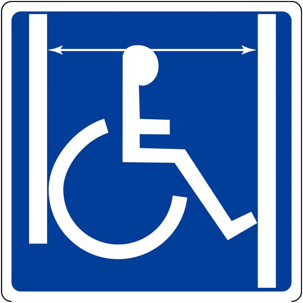 Panneau mural Accès handicapés, passage de porte large