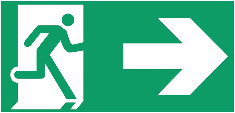 Etiquette BAES Homme qui court, flèche à droite