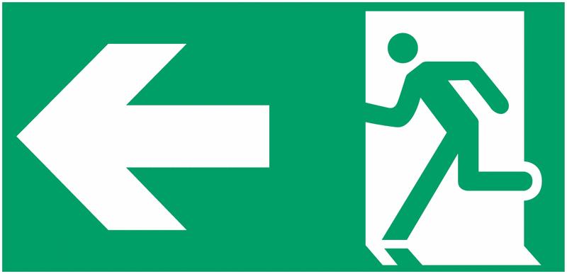 Etiquette BAES Homme qui court, flèche à gauche
