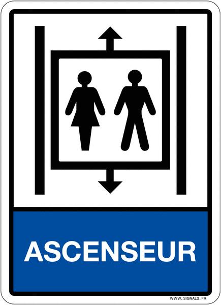 Plaque avec symbole et texte Ascenseur en plexiglas