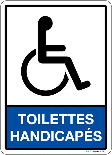 Plaque en plexiglas avec pictogramme et texte toilettes handicapés