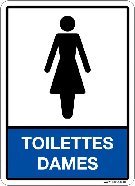 Plaque en plexiglas d'information pictogramme et texte toilettes dames